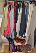LADIES AND GENTS COATS, JACKETS AND HANDBAGS, etc, gents include outdoor leisure coats still with