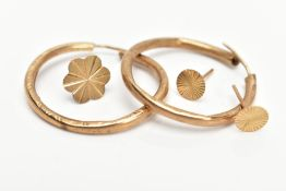 A SMALL SELECTION OF YELLOW METAL JEWELLERY, to include a pair of textured hollow hoops, a pair of