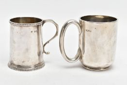 TWO EARLY 20TH CENTURY SILVER CHRISTENING MUGS, the first of plain design, hallmark for Chester