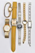 A SMALL SELECTION OF LADIES AND GENTS WRISTWATCHES, six watches in total to include an a.f gold-