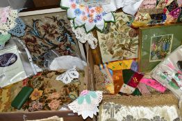 A QUANTITY OF ANTIQUE EMBROIDERED ITEMS to include a framed floral beadwork, crewel work rug,