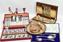 A BOX OF ASSORTED WHITE METAL WARE, to include a boxed three piece 'Walker & Hall' serving set