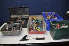 FIVE TRAYS CONTAINING HAND TOOLS including a Rabone and Chesterman machine level, hammers, levels,