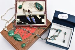 A SELECTION OF WHITE METAL, SEMI-PRECIOUS STONE SET JEWELLERY, to include an aquamarine necklace and
