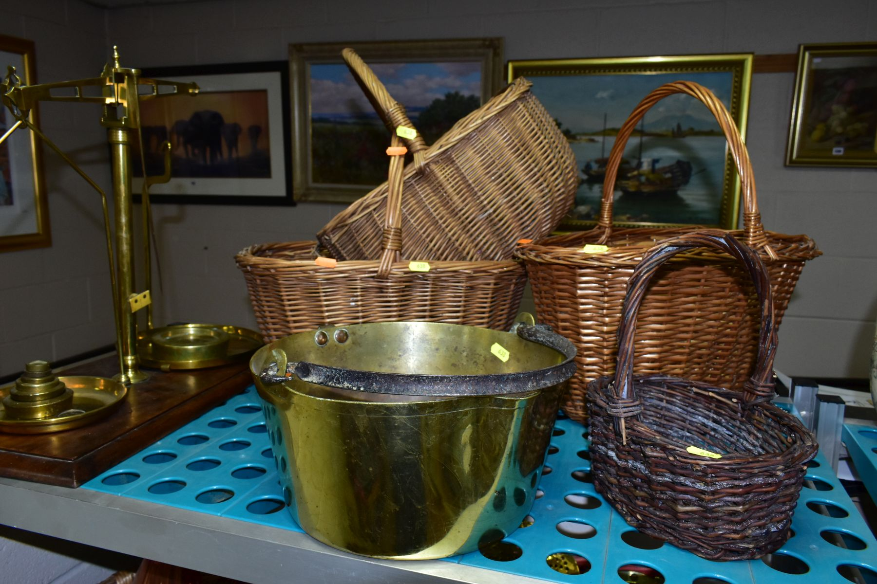A GROUP OF COPPER, BRASS, WICKER BASKETS, ETC, including a set of balance scales on a mahogany - Image 3 of 11