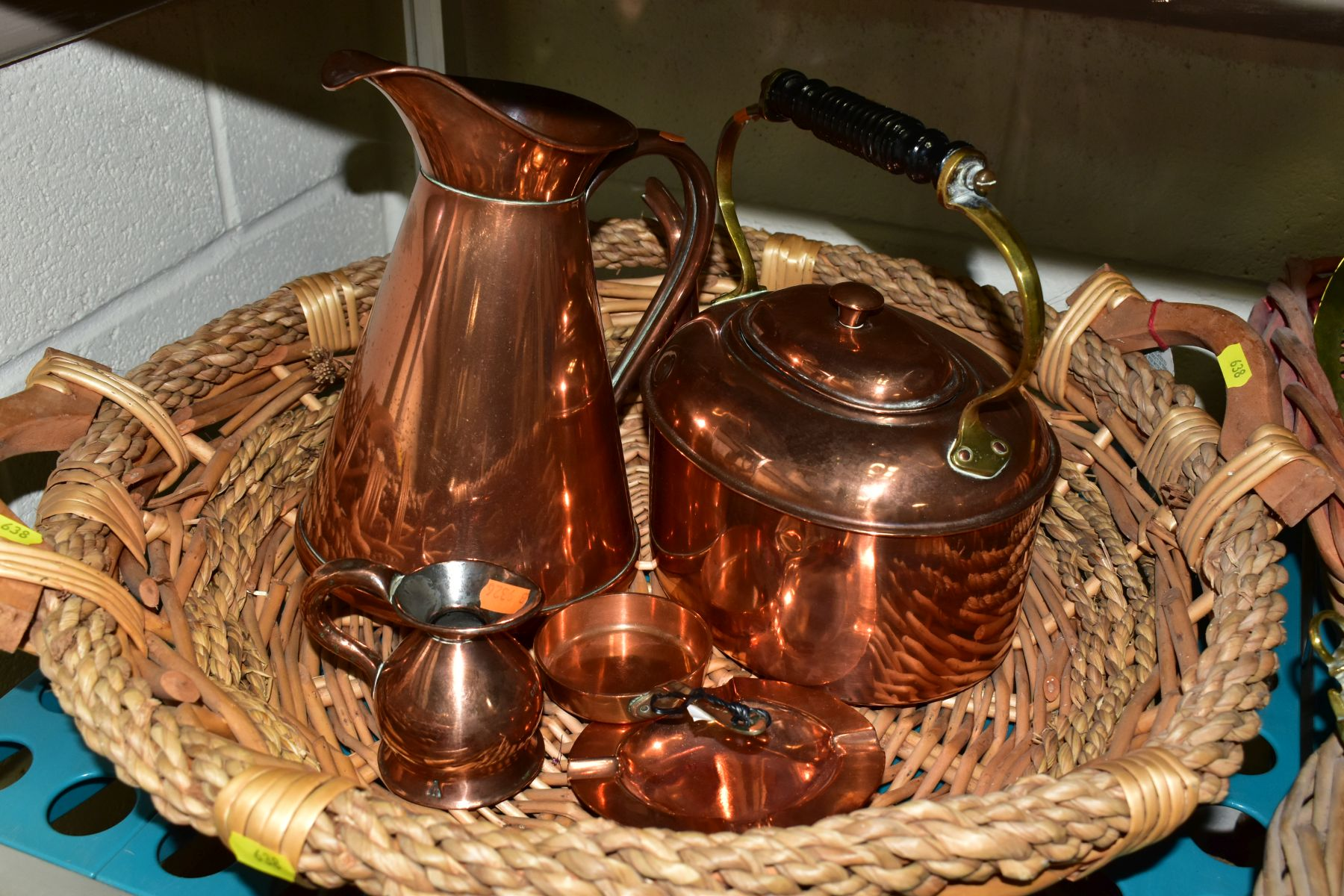 A GROUP OF COPPER, BRASS, WICKER BASKETS, ETC, including a set of balance scales on a mahogany - Image 7 of 11