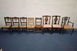 EIGHT VARIOUS PERIOD CHAIRS OF VARIOUS AGES AND MATERIALS, to include an Edwardian elbow chair,