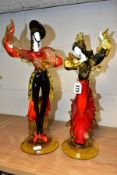 A PAIR OF GLASS FIGURES OF MALE AND FEMALE FLAMENCO DANCERS, in the style of the Venetian Glass