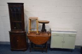 A VINTAGE TWO DOOR KITCHEN CABINET, width 92cm x depth 39cm x height 88cm, along with a Victorian