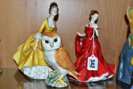 TWO ROYAL DOULTON LADY FIGURES AND A BESWICK OWL, model no 2026, height 11.5cm, the Royal Doulton