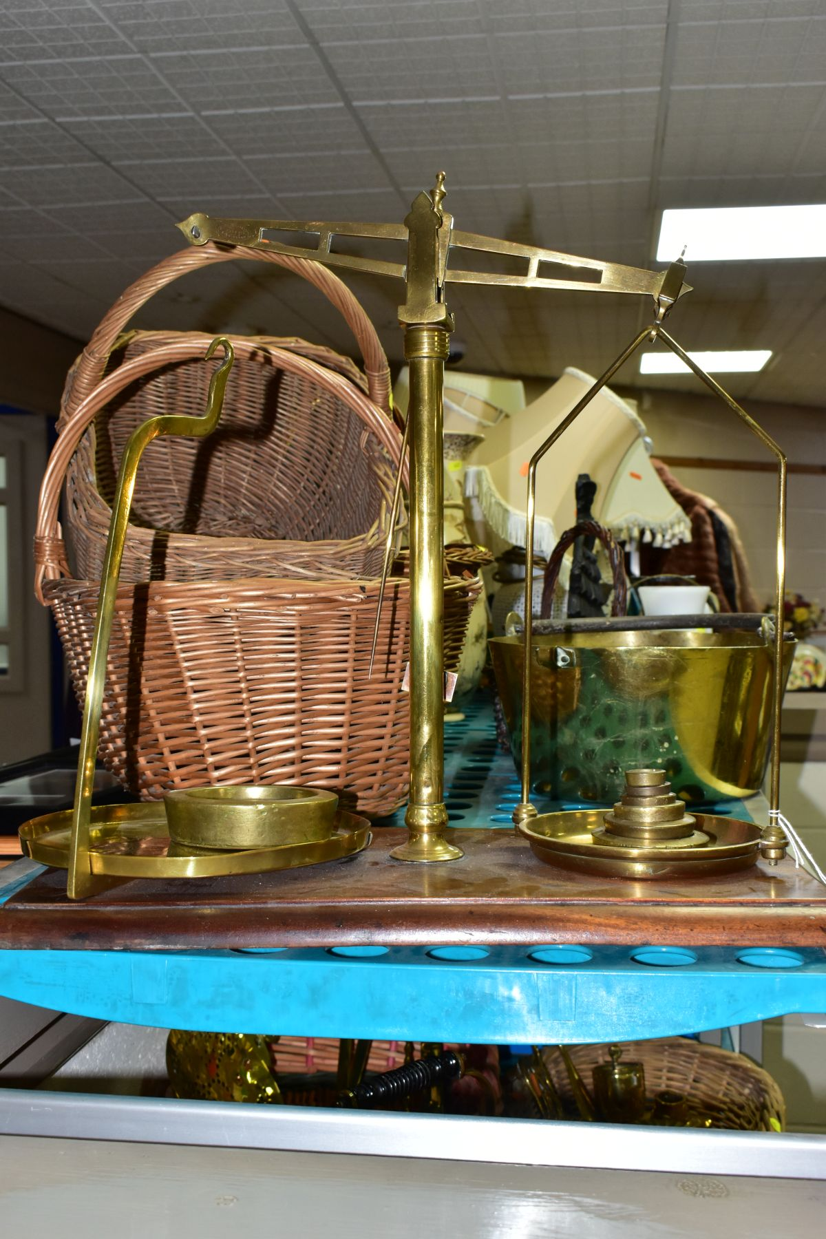 A GROUP OF COPPER, BRASS, WICKER BASKETS, ETC, including a set of balance scales on a mahogany - Image 10 of 11