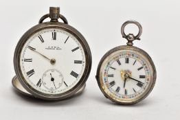TWO SILVER POCKET WATCHES, the first an a.f open face watch, white dial signed 'A.W.W Co Waltham