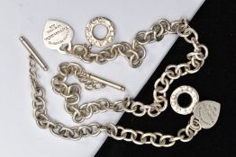 A SILVER 'TIFFANY & CO' NECKLACE AND MATCHING BRACELET, a curb link design with a signed '