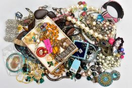 A BOX OF COSTUME JEWELLERY, to include various beaded necklaces and bracelets, earrings, bangles,