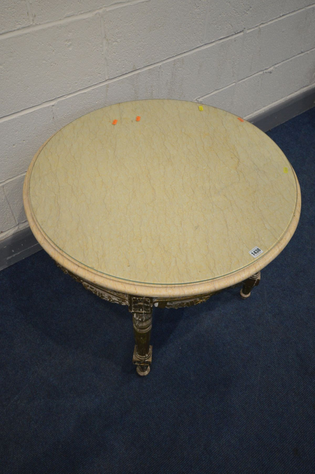 A 19TH CENTURY CIRCULAR GILTWOOD LOUIS XVI STYLE TABLE, marble top, foliate carving, on four - Image 2 of 5