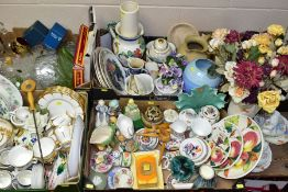 FIVE BOXES AND LOOSE CERAMICS AND GLASSWARE, including a Foley China part tea set, some pieces a.