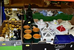 THREE BOXES AND LOOSE CERAMICS, ETC, to include novelty teapots and traditional shaped teapots by