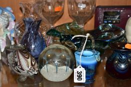 NINE ITEMS OF GLASSWARE, comprising a pair of 19th Century ogee shaped rummers on air twist stems,