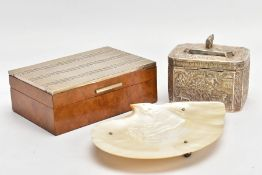 A CIGARETTE BOX, A WHITE METAL BOX AND A OYSTER SHELL TRINKET DISH, the wooden cigarette box mounted
