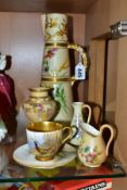 A SMALL GROUP OF ROYAL WORCESTER PORCELAIN, comprising a badly damaged James Stinton small cabinet