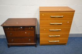 A STAG MINSTREL CHEST OF THREE OVER TWO LONG DRAWERS, width 82cm x depth 47cm x height 71cm along