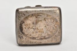 AN EARLY 20TH CENTURY SILVER CIGARETTE CASE, rounded rectangular form, engraved foliate design, with