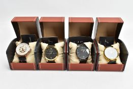 FOUR BOXED 'L A BANUS' WRISTWATCHES, two matching with round black dials Roman twelve and six