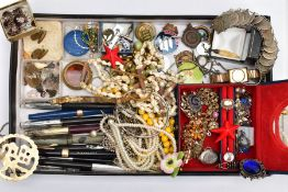 A BOX OF MOSTLY COSTUME JEWELLERY, to include a small blue jewellery box with contents to include