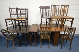 THREE VARIOUS OAK TABLES, and a set of four Arts and Crafts oak chairs, and five other chairs (12)