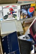 GAMING AND CAMERAS ETC, comprising a Nintendo DS XL with case and box, wine red, three DS games,