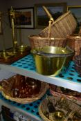 A GROUP OF COPPER, BRASS, WICKER BASKETS, ETC, including a set of balance scales on a mahogany