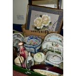 CERAMICS AND PICTURES, ETC, to include two Portmeirion Botanic Garden shallow dishes, largest