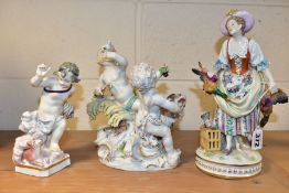 THREE 19TH CENTURY CONTINENTAL PORCELAIN FIGURES AND FIGURE GROUP, comprising a lady in 18th Century