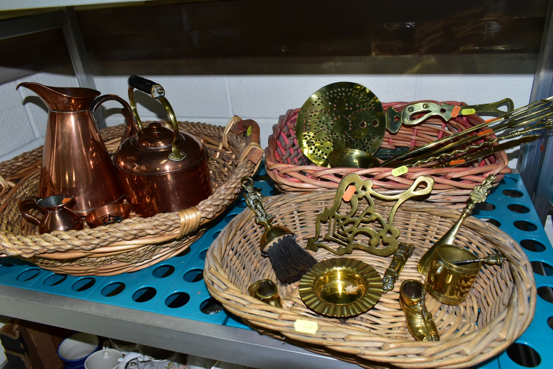 A GROUP OF COPPER, BRASS, WICKER BASKETS, ETC, including a set of balance scales on a mahogany - Image 5 of 11