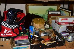 NINE BOXES AND LOOSE METALWARES, BOOKS, DVDS, CDS, LPs, ETC, INCLUDING Viners stainless steel