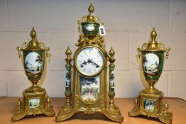 A MODERN ITALIAN BRASS AND PORCELAIN 'IMPERIAL' CLOCK GARNITURE, the white enamel dial with Roman