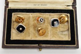 A CASED SET OF EARLY 20TH CENTURY 18CT GOLD AND PLATINUM MOUNTED ONYX AND SPLIT PEARL CUFFLINKS