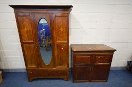 AN EDWARDIAN MAHOGANY AND INLAID SINGLE DOOR WARDROBE, above a single drawer, width 128cm x depth