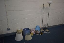 A COLLECTION OF MODERN LIGHTING AND SHADES to include two chrome floor lamps, a chrome table lamp, a