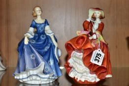 TWO ROYAL DOULTON PRETTY LADIES FIGURES, comprising Top O'the Hill HN4778 and 'Hilary' HN4996 (2) (
