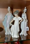 TWO LLADRO FIGURES AND A NAO FIGURE OF A GIRL, the Lladro figures comprising 5787 'Sophisticate' and