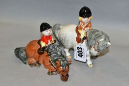 TWO JOHN BESWICK NORMAN THELWELL FIGURE GROUPS, 'An Angel on Horseback', grey pony No 2704A and '