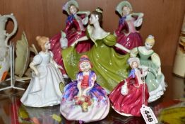 SEVEN ROYAL DOULTON LADY FIGURES, comprising 'Monica' HN1467 (chipped flowers and scratches to