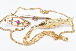 TWO EARLY 20TH CENTURY BROOCHES AND A YELLOW METAL PENDANT NECKLACE, to include a yellow metal