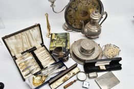 A BOX OF ASSORTED WHITE METAL AND ITEMS, to include a white metal coffee pot, a three branch
