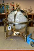 A BOXED SPLENDOR ELEGANCE GEM STONE GLOBE, the terrestrial globe is inset with over thirty different