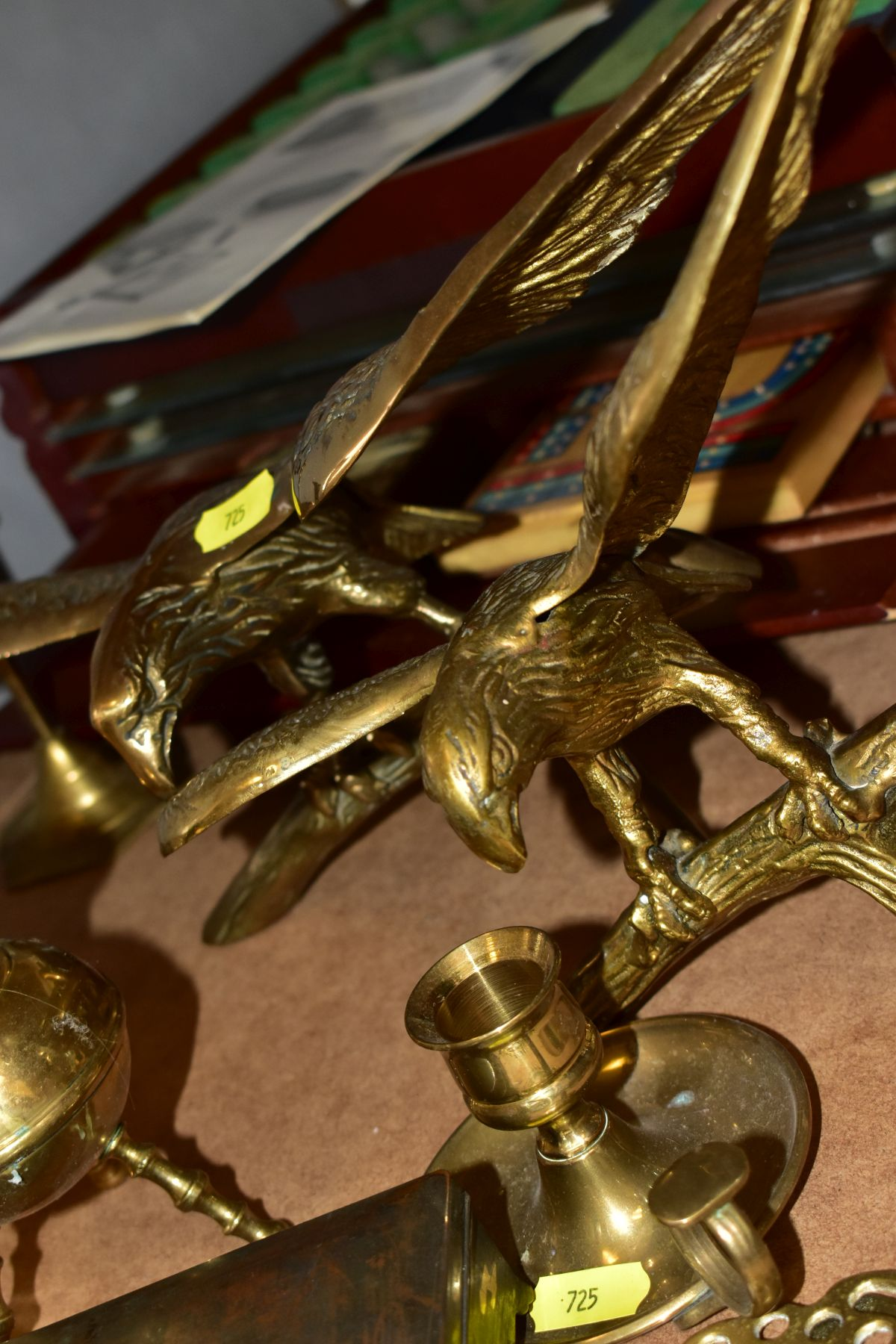 METALWARES AND GAMES BOX to include two brass eagles perched on branches, tallest approximate - Image 6 of 9
