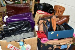 TWO BOXES OF HANDBAGS AND A BOX OF SUNGLASSES, the handbags to include Radley, Betty Barclay, Lulu