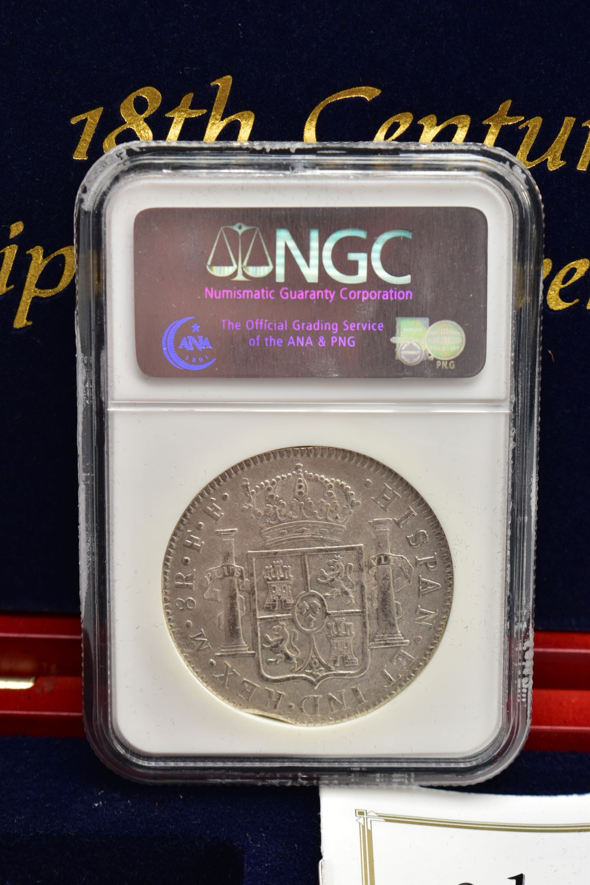 A SLABBED NGC SHIPWRECK CERTIFICATION OF A 18TH CENTURY 1782 SILVER EIGHT REALES COIN with - Image 3 of 3