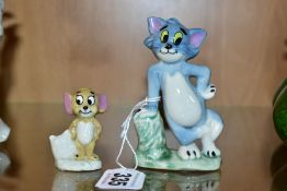 WADE TOM AND JERRY, style one, length of Tom 9cm (2) (Condition:- Jerry has glaze missing back of